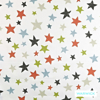 Warwick Playtime Twinkle Orange  | Curtain Fabric - Terracotta, Contemporary, Kids, Children, Linen and Linen Look, Midcentury, Natural Fibre, Washable, Domestic Use, Stars