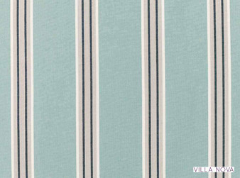 Villa Nova - Nauset Aqua  | Curtain & Upholstery fabric - Linen/Linen Look, Blue, Stripe, Traditional, Dry Clean, Natural, Natural Fibre