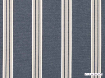 Villa Nova - Nauset Ink  | Curtain & Upholstery fabric - Linen/Linen Look, Blue, Stripe, Traditional, Dry Clean, Natural, Natural Fibre