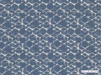 Villa Nova - Sudare Indigo  | Curtain & Upholstery fabric - Linen/Linen Look, Blue, Contemporary, Dry Clean, Geometric, Natural, Natural Fibre