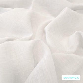 Warwick Tahiti Snow  | Curtain Sheer Fabric - Plain, White, Linen and Linen Look, Synthetic, Washable, Domestic Use, Natural, White, Weighted Hem, Wide Width