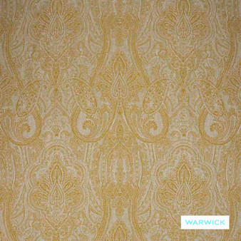 Warwick - Michaela Buttercup  | Curtain & Upholstery fabric - Gold,  Yellow, Damask, Mediterranean, Paisley, Traditional, Domestic Use, Railroaded, Standard Width