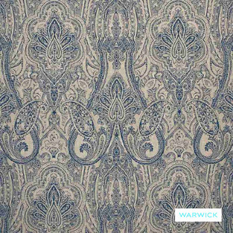 Warwick - Michaela Denim  | Curtain & Upholstery fabric - Blue, Damask, Mediterranean, Paisley, Traditional, Domestic Use, Railroaded, Standard Width