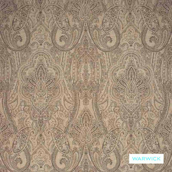 Warwick - Michaela Mink  | Curtain & Upholstery fabric - Brown, Damask, Mediterranean, Paisley, Traditional, Domestic Use, Railroaded, Standard Width