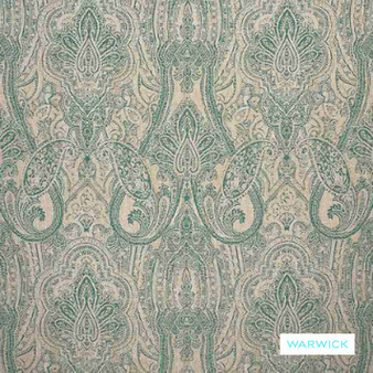 Warwick - Michaela Ocean  | Curtain & Upholstery fabric - Damask, Mediterranean, Paisley, Traditional, Domestic Use, Railroaded, Standard Width
