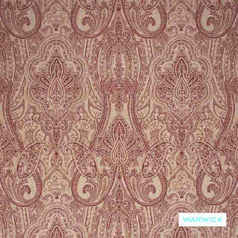 Warwick - Michaela Wine  | Curtain & Upholstery fabric - Terracotta, Damask, Paisley, Traditional, Domestic Use, Railroaded, Standard Width