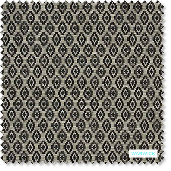 Warwick - Romano Charcoal  | Upholstery Fabric - Beige, Geometric, Traditional, Transitional, Commercial Use, Diamond - Harlequin, Railroaded, Standard Width