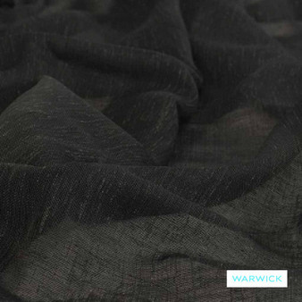 Warwick - Vanuatu Onyx  | Curtain Sheer Fabric - Plain, Black - Charcoal, Washable, Domestic Use, Herringbone, Plain - Textured Weave, Railroaded