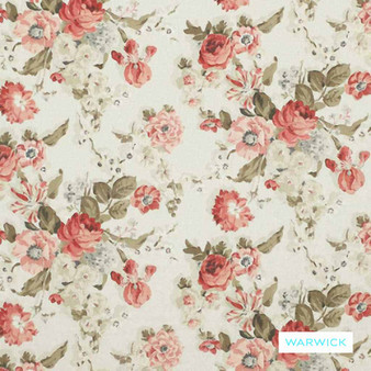 Warwick - Wolseley Red  | Upholstery Fabric - Washable, Beige, Green, Pink, Purple, Floral, Garden, Botantical, Traditional, Railroaded, Shabby Chic