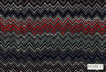 Marco Fabrics - Ziggy Reef  | Curtain & Upholstery fabric - Black, Charcoal, Blue, Red, Mediterranean, Moroccan, Railroaded, Chevron, Zig Zag, Pattern