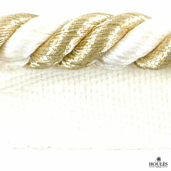 Houles - 31238 Piping Cord Luxury 8mm - 9010  | Flange Cord, Trim - Washable, Gold, Yellow, Whites, Decorative, Trimmings, Flange Cord