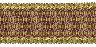 Houles - 32180 Beaugency Braid - 9745  | Gimps & Braids, Curtain & Upholstery Trim - Gold,  Yellow, Deco, Decorative, Fibre Blends, Pink, Purple, Washable, Domestic Use