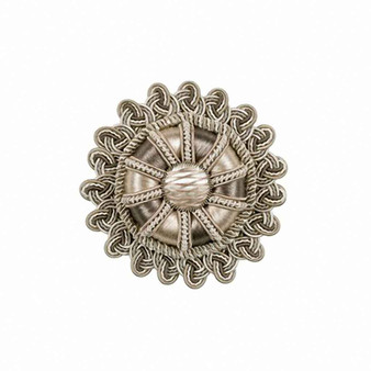 Houles - 36016 Duchesse Rosette - 9820  | Rosette, Curtain & Upholstery, Trim - Washable, Silver, Decorative, Trimmings, Rosette, Fibre Blend