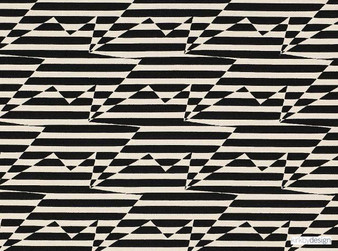 Kirkby Design - Stripey Zig Zag Birds Monochrome  | Curtain & Upholstery fabric - Black, Charcoal, Dry Clean, Geometric, Abstract, Chevron, Zig Zag
