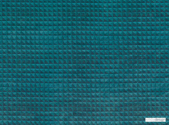 Kirkby Design - Domino Pyramid Teal  | Upholstery Fabric - Blue, Turquoise, Teal, Dry Clean, Geometric, Velvets, Small Scale, Fibre Blend
