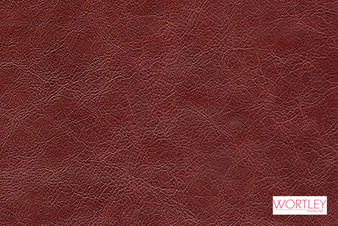 Wortley Group Designer Leather Chalet Heirloom  | Upholstery Fabric - Burgundy, Leather, Plain, Domestic Use