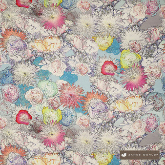 James Dunlop Santana - Carnaval  | Curtain & Upholstery fabric - Blue, Gold,  Yellow, Eclectic, Floral, Garden, Multi-Coloured, Natural Fibre, Pink, Purple, Washable