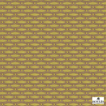 Houles - 72776 Fleuron - 9710    Curtain & Upholstery fabric - Gold, Yellow, Contemporary, Honeycomb, Fibre Blend, Standard Width