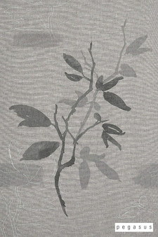 Pegasus Zarra - Gunsmoke    Curtain Fabric - Grey, Asian, Floral, Garden, Natural Fibre, Transitional, Washable, Chinoise, Domestic Use, Dry Clean, Natural, Wide Width