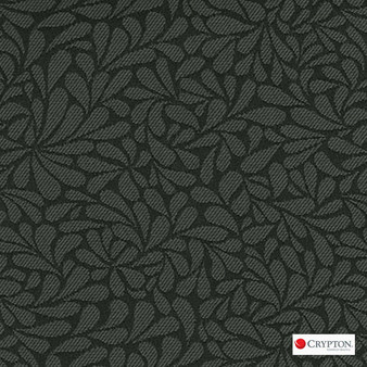 Crypton Twirl Graphite  | Upholstery Fabric - Black - Charcoal, Craftsman, Floral, Garden, Pattern, Synthetic, Commercial Use, Standard Width