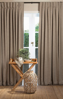 Pegasus Tasman UC - Birch  | Curtain Fabric - Fire Retardant, Fibre Blends, Stripe, Tan, Taupe, Washable, Dry Clean, Standard Width