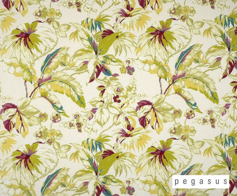 Pegasus Haven - Tropical  | Curtain Fabric - Gold,  Yellow, White, Floral, Garden, Natural Fibre, Pattern, Tropical, Washable, Domestic Use, Dry Clean, Natural, Top of Bed