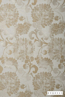 Pegasus Latvia - Gold  | Curtain Fabric - Gold,  Yellow, Craftsman, Damask, Deco, Decorative, Eclectic, Floral, Garden, Jacobean, Natural Fibre, Paisley, Traditional, Washable