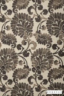 Pegasus Latvia - Pewter  | Curtain Fabric - Brown, Craftsman, Damask, Deco, Decorative, Eclectic, Floral, Garden, Natural Fibre, Paisley, Traditional, Washable, Dry Clean