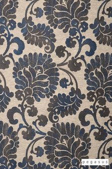 Pegasus Latvia - Royal  | Curtain Fabric - Blue, Craftsman, Damask, Deco, Decorative, Eclectic, Floral, Garden, Natural Fibre, Paisley, Traditional, Washable, Domestic Use