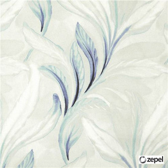 Zepel Fabrics - Sanctuary Limoges  | Curtain & Upholstery fabric - Blue, Floral, Garden, Natural Fibre, Commercial Use, Domestic Use, Natural, Oeko-Tex, Standard Width