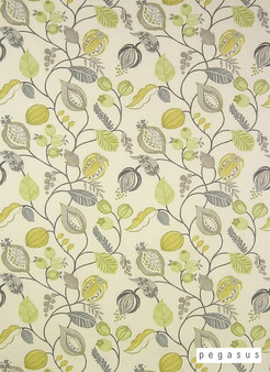 Pegasus Zest - Mimosa  | Curtain Fabric - Fire Retardant, Gold,  Yellow, Craftsman, Floral, Garden, Jacobean, Natural Fibre, Traditional, Domestic Use, Dry Clean, Natural