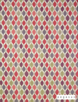 Pegasus Verve - Berry    Curtain Fabric - Red, Geometric, Multi-Coloured, Midcentury, Natural Fibre, Ogee, Pink, Purple, Small Scale, Domestic Use, Dry Clean, Natural, Retro