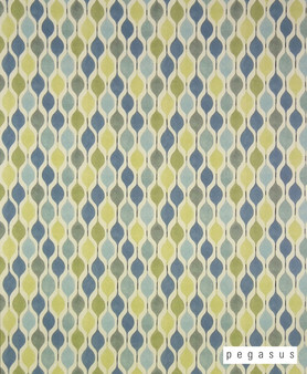 Pegasus Verve - Bluebell  | Curtain Fabric - Blue, Geometric, Midcentury, Natural Fibre, Ogee, Small Scale, Domestic Use, Dry Clean, Natural, Top of Bed, Standard Width, Retro