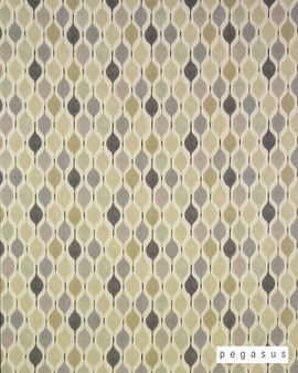Pegasus Verve - Linen  | Curtain Fabric - Grey, Geometric, Midcentury, Natural Fibre, Ogee, Small Scale, Domestic Use, Dry Clean, Natural, Top of Bed, Standard Width, Retro