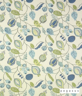 Pegasus Zest - Bluebell  | Curtain Fabric - Blue, Fire Retardant, Craftsman, Floral, Garden, Jacobean, Natural Fibre, Traditional, Domestic Use, Dry Clean, Natural, Top of Bed