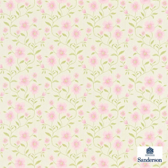 Sanderson Sabine 221930  | Curtain Fabric - Pink, Purple, Floral, Garden, Botantical, Farmhouse, Natural, Natural Fibre, Standard Width