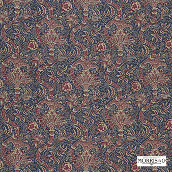 Morris and Co - Indian DMCOIN201  | Curtain & Upholstery fabric - Blue, Red, Craftsman, Damask, Jacobean, Natural Fibre, Traditional, Domestic Use, Natural, Standard Width