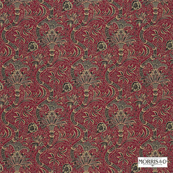 Morris and Co - Indian DMCOIN203  | Curtain & Upholstery fabric - Red, Craftsman, Damask, Jacobean, Natural Fibre, Traditional, Domestic Use, Natural, Standard Width