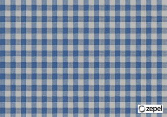 Zepel Fabrics - Playground Denim  | Curtain & Upholstery fabric - Blue, Check, Fibre Blends, Gingham, Commercial Use, Domestic Use, Oeko-Tex,  Standard Width