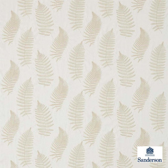 Sanderson Fern Embroidery 235607  | Curtain Fabric - Grey, Fibre Blends, Floral, Garden, Midcentury, Transitional, Domestic Use, Embroidery, Standard Width