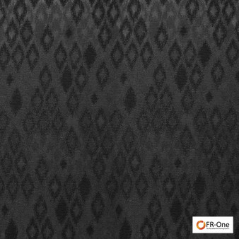 Fr One Fabrics - Ganymede Fr Ebony  | Curtain & Upholstery fabric - Fire Retardant, Black - Charcoal, Synthetic, Commercial Use, Diamond - Harlequin, Domestic Use, Oeko-Tex
