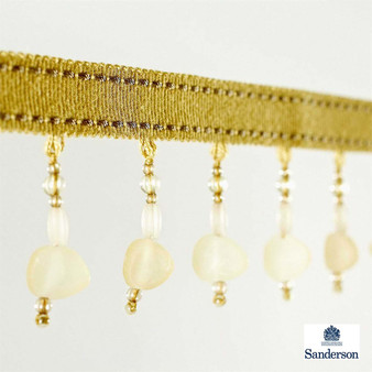 Sanderson Drop Bead Fringe 232239  | Upholstery Fabric - Gold,  Yellow, Contemporary, Synthetic, Washable, Domestic Use