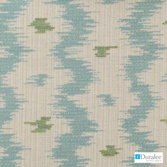 Duralee - 15549-601 - Aqua/Green  | Upholstery Fabric - Blue, Fire Retardant, Ikat, Natural Fibre, Dry Clean, Natural, Standard Width