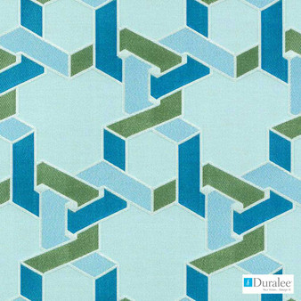 Duralee - 15649-601 - Aqua/Green  | Upholstery Fabric - Fire Retardant, Fibre Blends, Geometric, Dry Clean, Lattice, Trellis, Twill, Standard Width