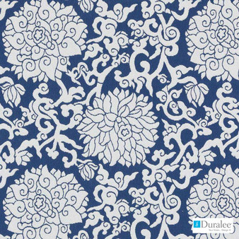 Duralee - 15696-207 - Mums - Cobalt  | Upholstery Fabric - Stain Repellent, Blue, Floral, Garden, Outdoor Use, Synthetic, Washable, Standard Width