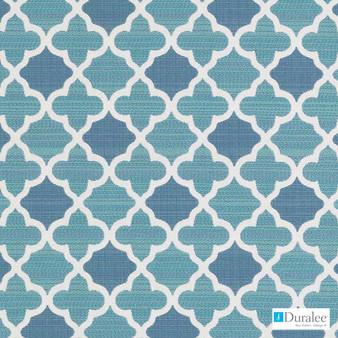 Duralee - 15718-260 - Aquamarine  | Upholstery Fabric - Blue, Mediterranean, Outdoor Use, Quatrefoil, Synthetic, Standard Width