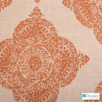 Duralee - 21038-107 - Terracotta  | Curtain & Upholstery fabric - Damask, Linen and Linen Look, Medallion, Natural Fibre, Dry Clean, Natural, Standard Width