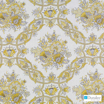 Duralee - 21081-205 - Jonquil  | Curtain & Upholstery fabric - Gold,  Yellow, Floral, Garden, Linen and Linen Look, Medallion, Natural Fibre, Dry Clean, Natural
