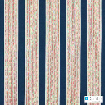 Duralee - 21087-54 - Sapphire  | Curtain & Upholstery fabric - Blue, Linen and Linen Look, Natural Fibre, Stripe, Dry Clean, Natural, Standard Width