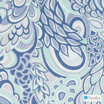 Duralee - 21091-433 - Mineral  | Curtain & Upholstery fabric - Blue, Floral, Garden, Linen and Linen Look, Natural Fibre, Dry Clean, Natural, Standard Width